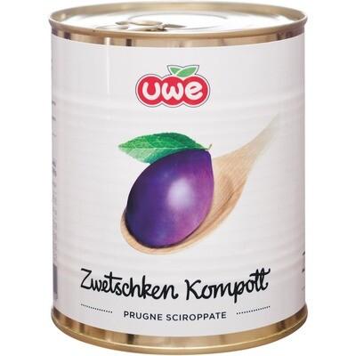 Grosspackung Uwe Zwetschgen Kompott mit Stein 6 x 850 ml