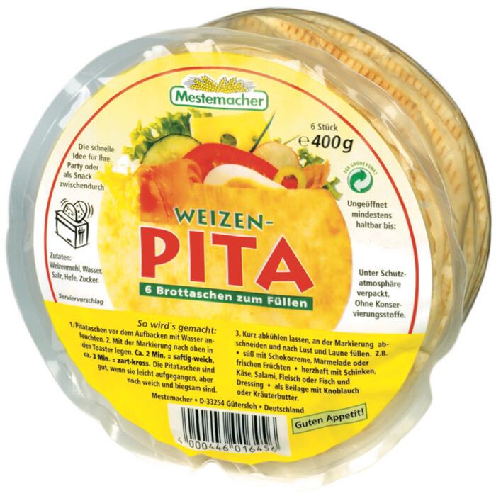 Grosspackung Mestemacher Pita Weizen 12 x (6 Stk. 400 g) = 4,8 kg