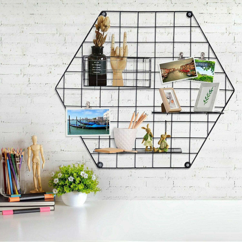 Outlet HOMCOM® Memotafel Fotowand DIY Dekoration Bilderregal Wandgitter Metall Schwarz