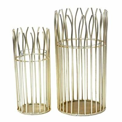 Windlicht Set romantisch 2-teilig mit Glaseinsatz rund in edler Drahtstruktur gold