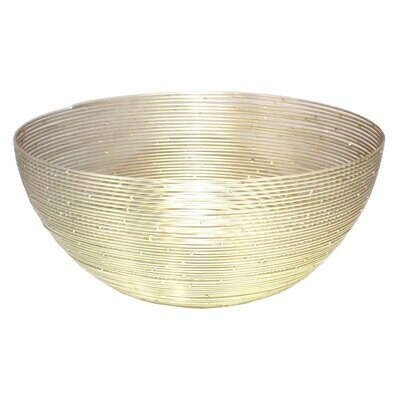 Deko Schale Obstschale Brotkorb rund ø 30 cm in edler Drahtstruktur Aluminium gold