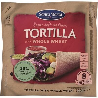 Grosspackung Santa Maria Vollkorn Tortilla 12 x (20 cm 8 Stück 320 g) = 3.84 kg