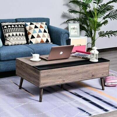 HOMCOM® Couchtisch mit erhöhbarer Tischplatte Kaffeetisch Wohnzimmer mit Stauraum Spanplatte 110 x 65 x 39,3 cm