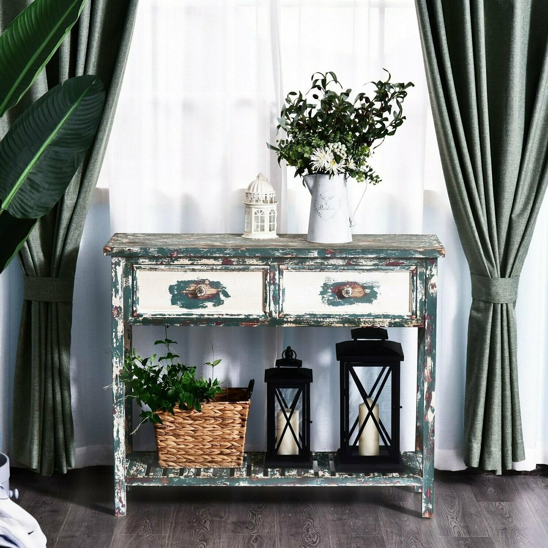 HOMCOM® Vintage Konsolentisch Beistelltisch Sideboard mit 2 Schubladen Massivholz
