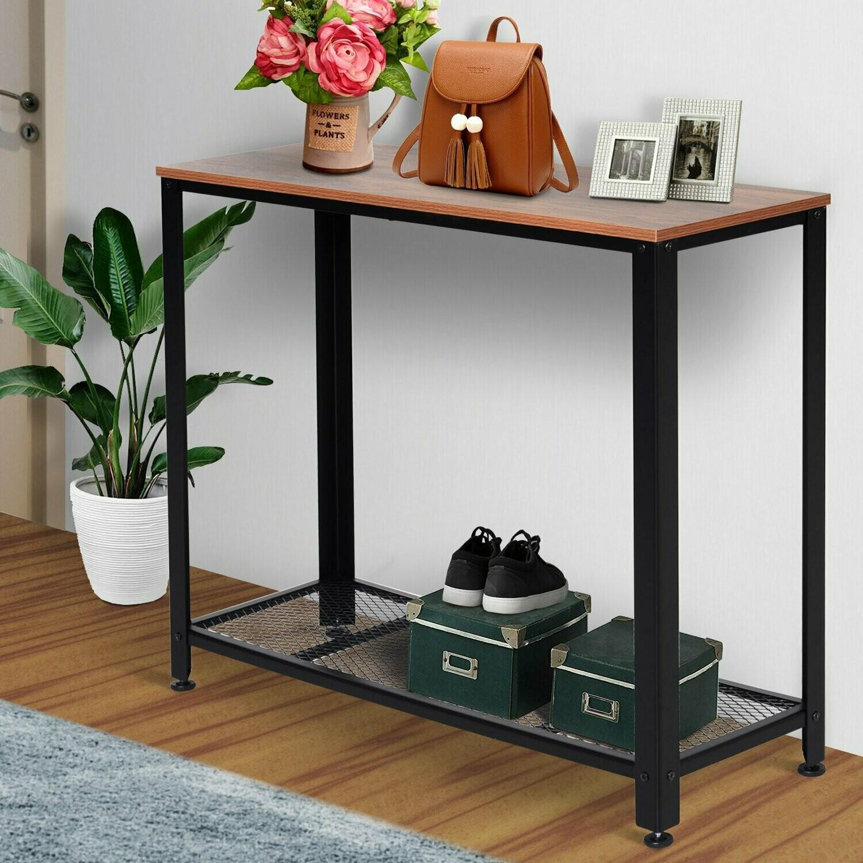 HOMCOM® Konsolentisch Sideboard Beistelltisch mit Gitterablage Industrie-Stil Metall 101 x 35 x 80 cm