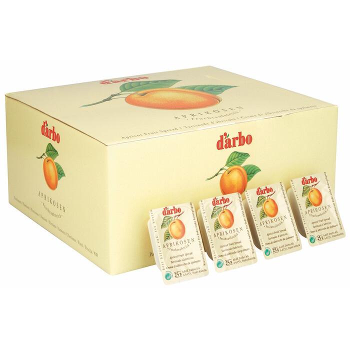 Grosspackung D'arbo Konfitüre / Fruchtaufstrich Portionen Marille 45% Fruchtanteil 100 x 25 g