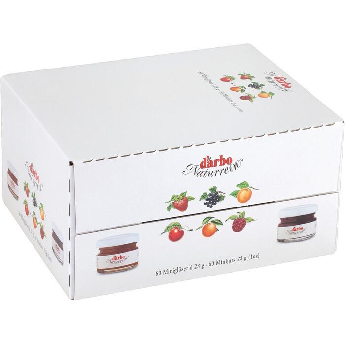 Grosspackung D'arbo Konfitüre / Fruchtaufstrich Portionen Sortiert 35% bis 50% Fruchtanteil 60 x 28 g