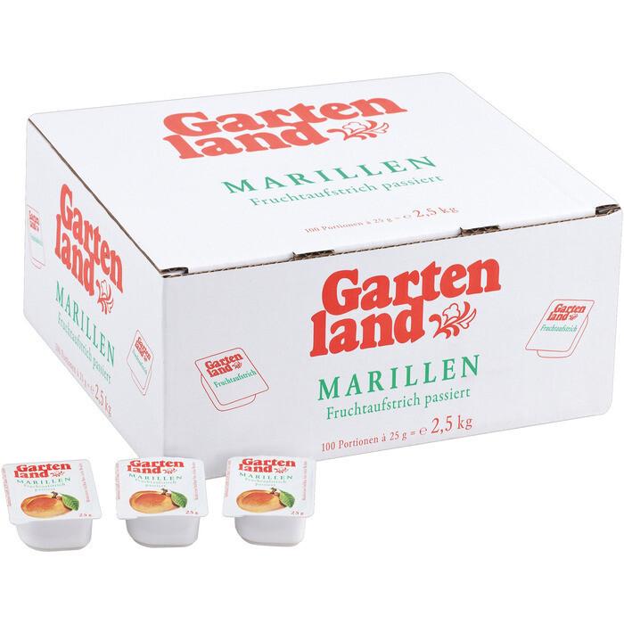 Grosspackung gartenland Konfitüre / Fruchtaufstrich Portionen Marille / Aprikose 45% Fruchtanteil 100 x 25 g