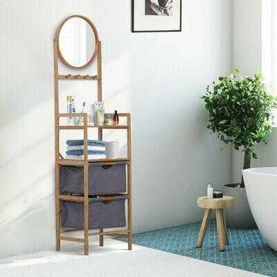 HOMCOM® Badezimmerregal Badregal Spiegel 2 Schubladen Standregal 4 Haken Bambus Natur