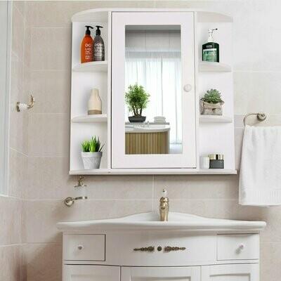 HOMCOM® Spiegelschrank Badezimmerregal Badeschrank Wandmontage 8 Fächer MDF Weiss 66 x 17 x 63 cm