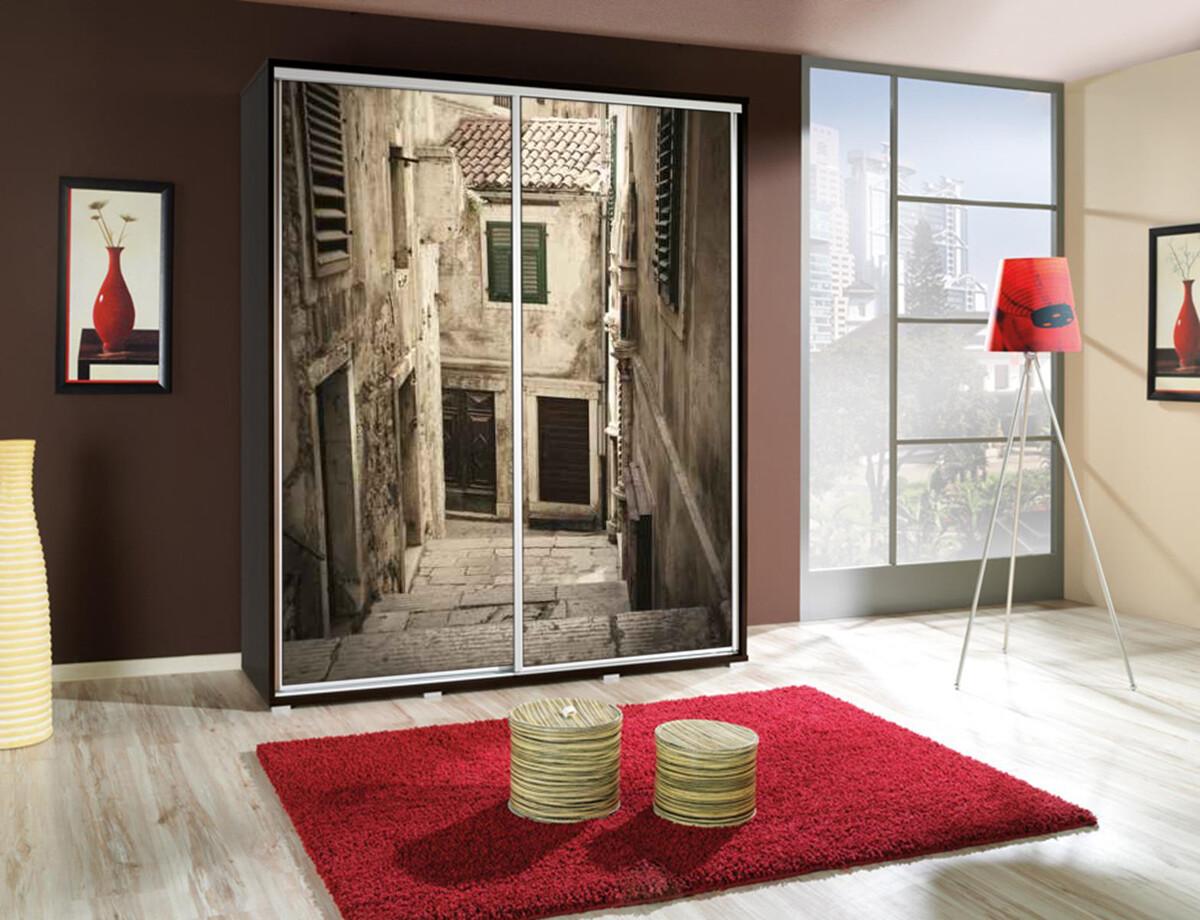 Schiebetürenschrank / Kleiderschrank mit Schiebetür PENELOPA 155cm Motiv Alley