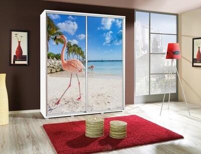 Schiebetürenschrank / Kleiderschrank mit Schiebetür PENELOPA 155cm Motiv Flamingo II