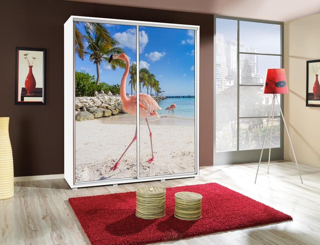 Schiebetürenschrank / Kleiderschrank mit Schiebetür PENELOPA 155cm Motiv Flamingo