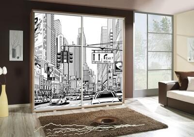 Schiebetürenschrank / Kleiderschrank mit Schiebetür PENELOPA 205cm Motiv: City