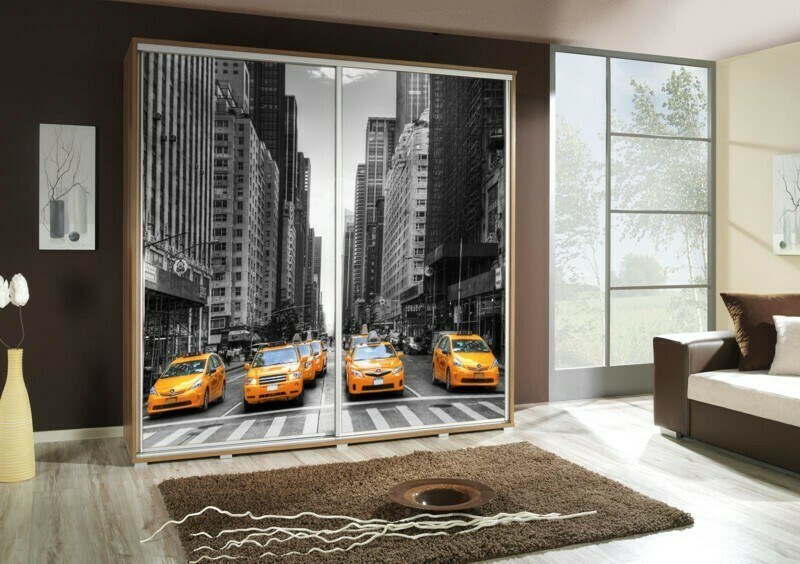 Schiebetürenschrank / Kleiderschrank mit Schiebetür PENELOPA 205cm Motiv: Taxi II