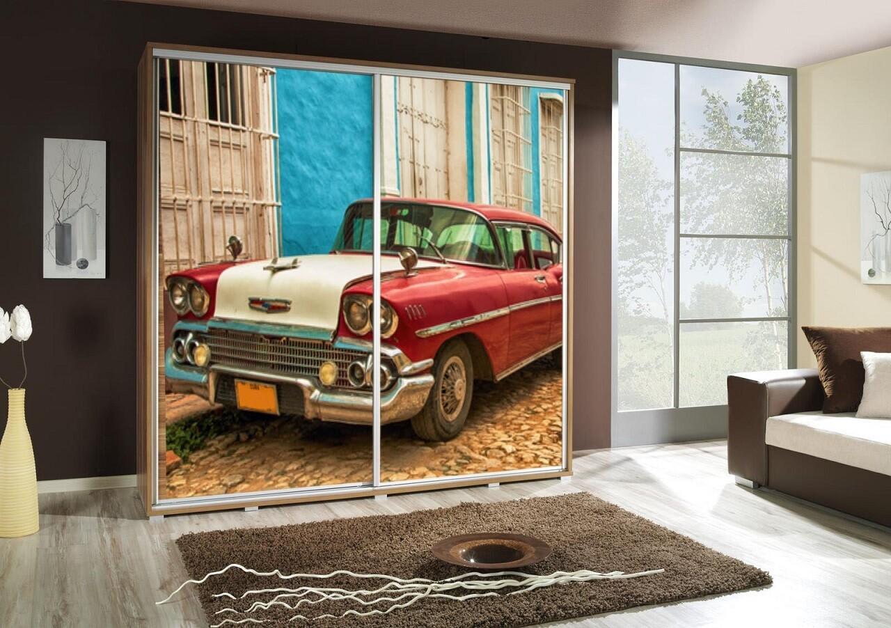 Schiebetürenschrank / Kleiderschrank mit Schiebetür PENELOPA 205cm Motiv: Auto / Car III