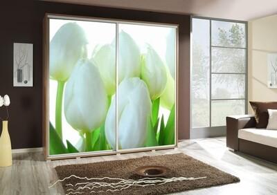 Schiebetürenschrank / Kleiderschrank mit Schiebetür PENELOPA 205cm Motiv: Tulpen / Flowers