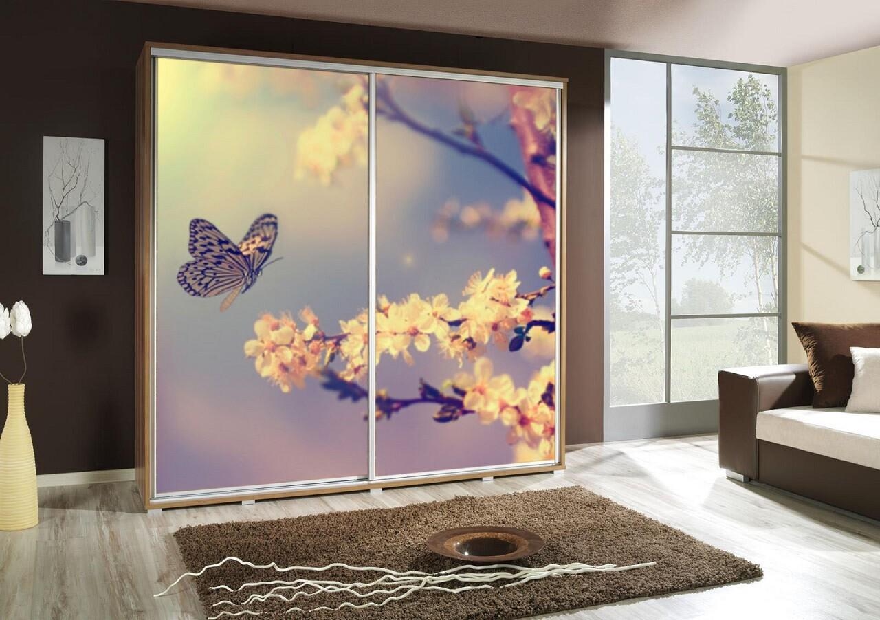 Schiebetürenschrank / Kleiderschrank mit Schiebetür PENELOPA 205cm Motiv: Butterfly / Schmetterling II