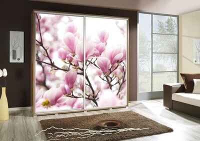 Schiebetürenschrank / Kleiderschrank mit Schiebetür PENELOPA 205cm Motiv: Kirschblüte