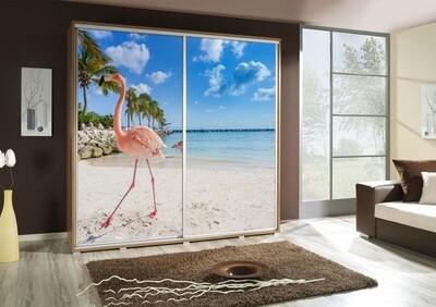 Schiebetürenschrank / Kleiderschrank mit Schiebetür PENELOPA 205cm Motiv: Flamingo