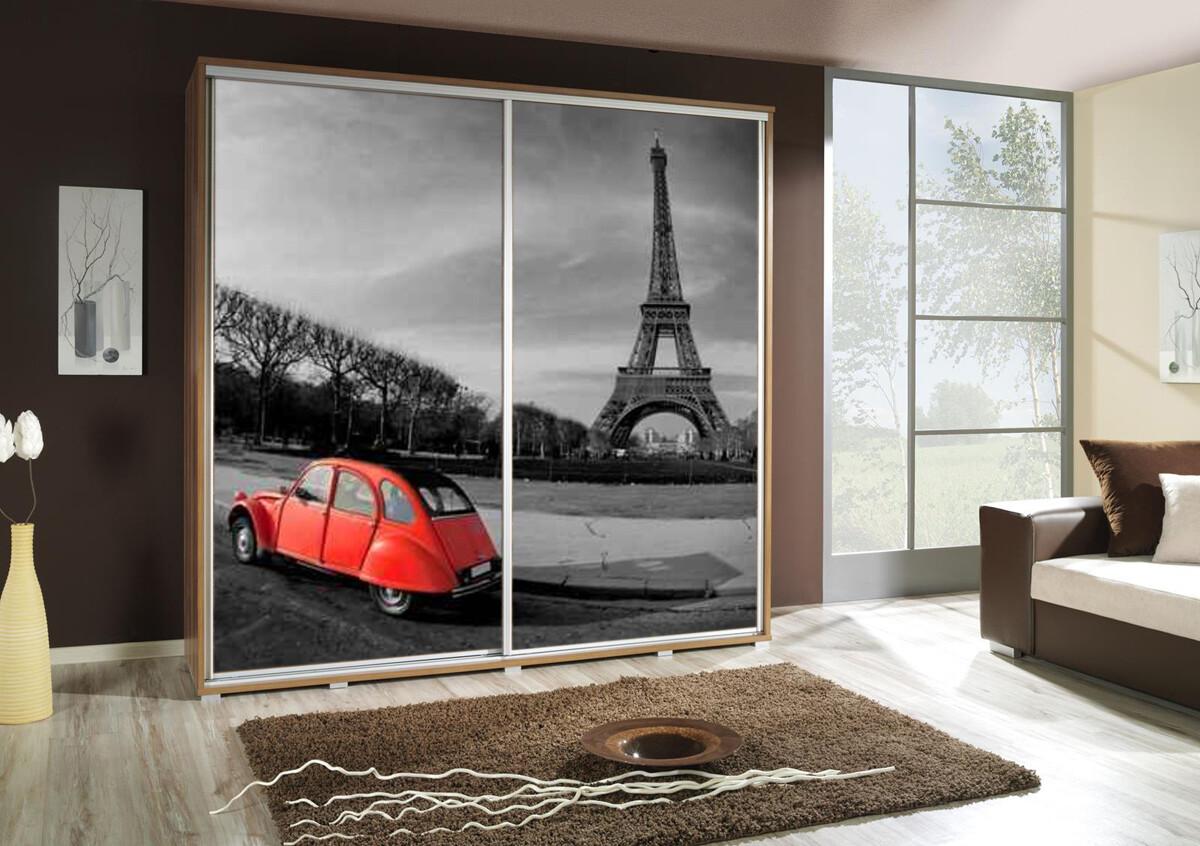 Schiebetürenschrank / Kleiderschrank mit Schiebetür PENELOPA 205cm Motiv: Paris