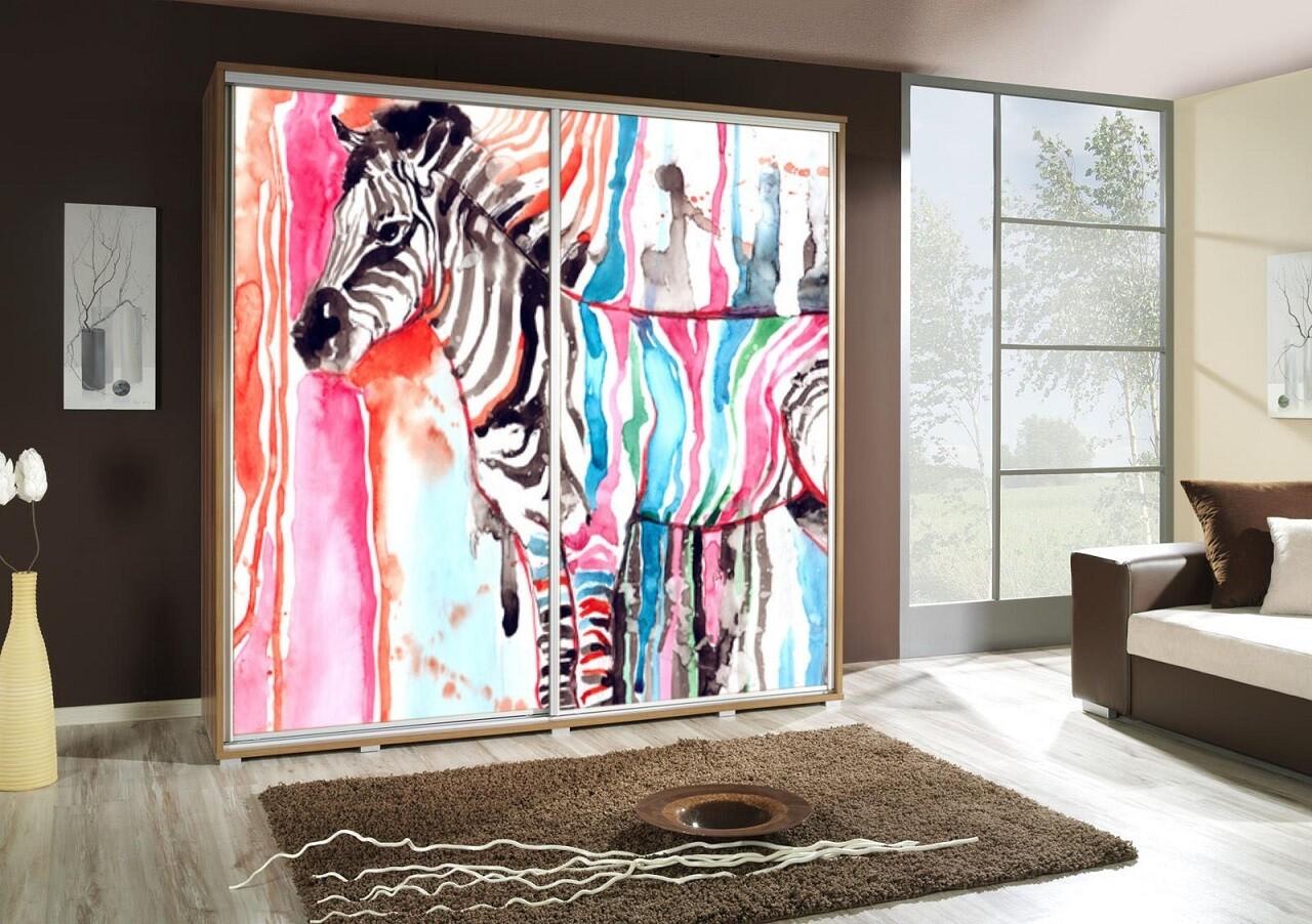 Schiebetürenschrank / Kleiderschrank mit Schiebetür PENELOPA 205cm Motiv: Zebra