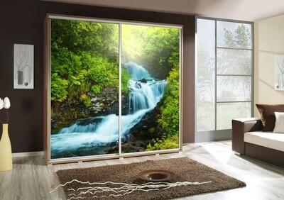 Schiebetürenschrank / Kleiderschrank mit Schiebetür PENELOPA 205cm Motiv: Wasserfall / Waterfall