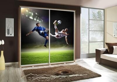 Schiebetürenschrank / Kleiderschrank mit Schiebetür PENELOPA 205cm Motiv: Soccer / Fusball II