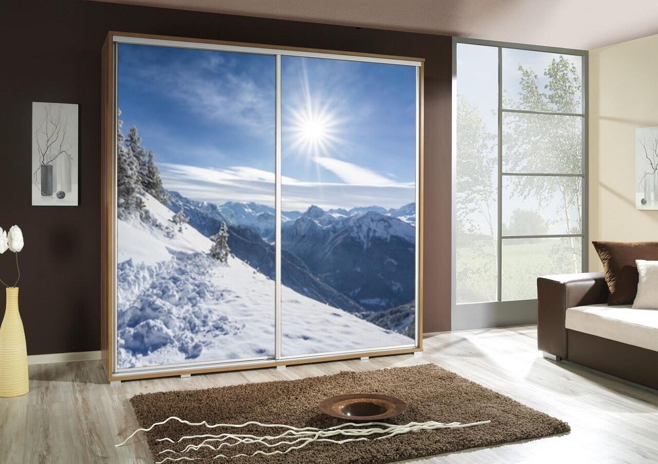 Schiebetürenschrank / Kleiderschrank mit Schiebetür PENELOPA 205cm Motiv: Berge Winter / Mountains II
