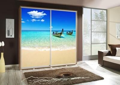 Schiebetürenschrank / Kleiderschrank mit Schiebetür PENELOPA 205cm Motiv: Beach