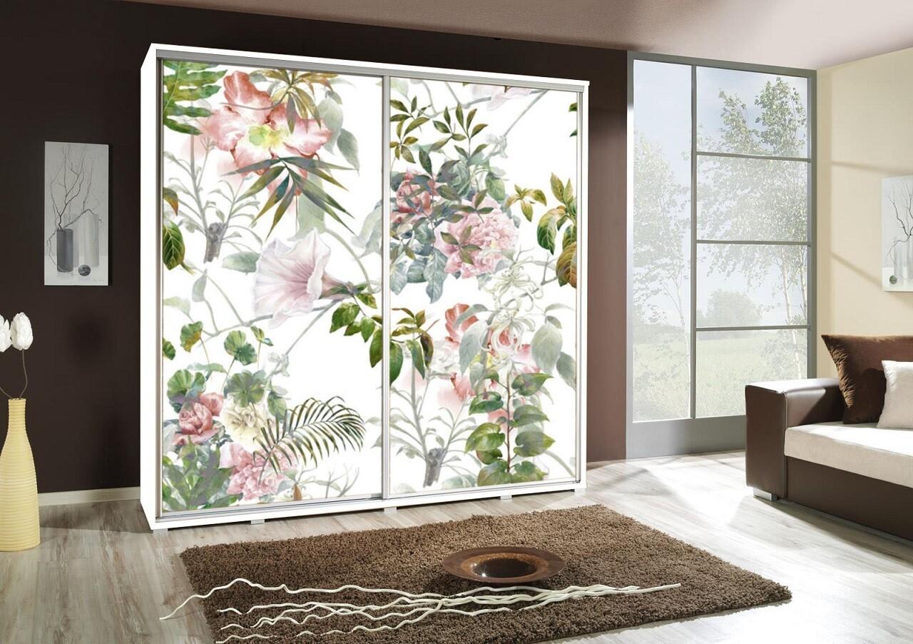 Schiebetürenschrank / Kleiderschrank mit Schiebetür PENELOPA 205cm Motiv: Flowers / Blumen