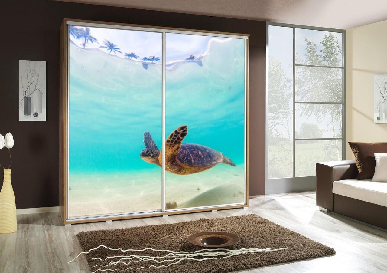 Schiebetürenschrank / Kleiderschrank mit Schiebetür PENELOPA 205cm Motiv: Turtle / Schildkröte