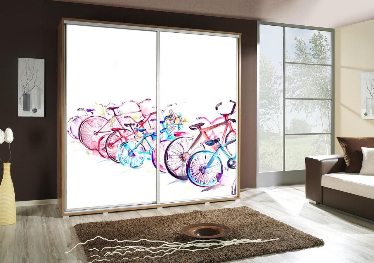Schiebetürenschrank / Kleiderschrank mit Schiebetür PENELOPA 205cm Motiv: Fahrrad / Velo