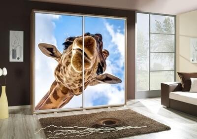 Schiebetürenschrank / Kleiderschrank mit Schiebetür PENELOPA 205cm Motiv: Giraffe I