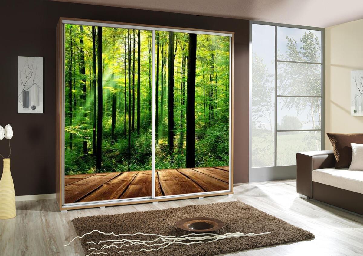 Schiebetürenschrank / Kleiderschrank mit Schiebetür PENELOPA 205cm Motiv: Wald / Forest