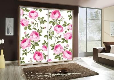 Schiebetürenschrank / Kleiderschrank mit Schiebetür PENELOPA 205cm Motiv: Roses / Rosen