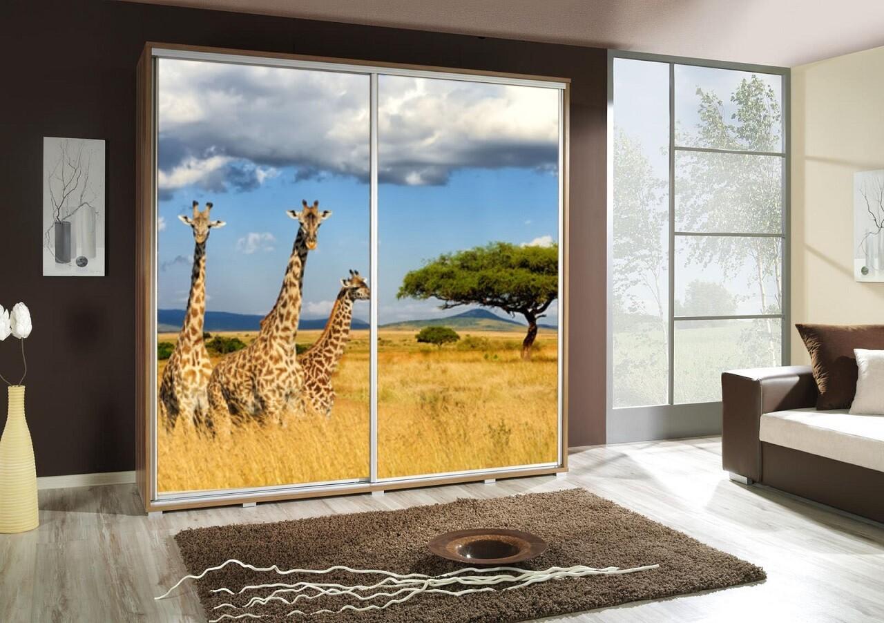 Schiebetürenschrank / Kleiderschrank mit Schiebetür PENELOPA 205cm Motiv: Giraffe II
