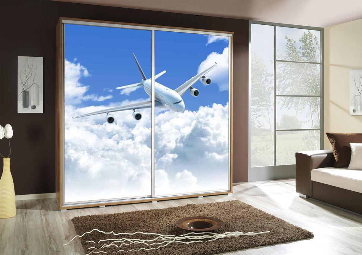 Schiebetürenschrank / Kleiderschrank mit Schiebetür PENELOPA 205cm Motiv: Flugzeug / Airplane