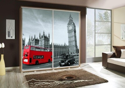Schiebetürenschrank / Kleiderschrank mit Schiebetür PENELOPA 205cm Motiv: London II