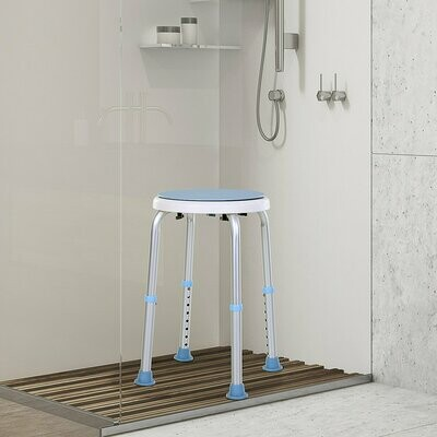 HOMCOM® Duschstuhl Badehocker drehbar rutschfest höhenverstellbar Alu-Legierung Blau