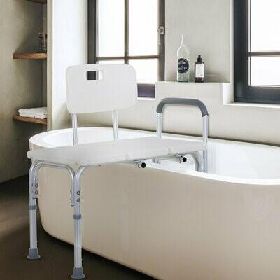 HOMCOM® Duschstuhl Badehocker mit Griff und Rückenlehne rutschfest Alu-Legierung weiss