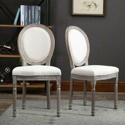 HOMCOM® 2er Set Esszimmerstuhl Barock Retro-Design Küchenstuhl Polsterstuhl mit Fußmatten Leinen B51 x T51 x H96 cm
