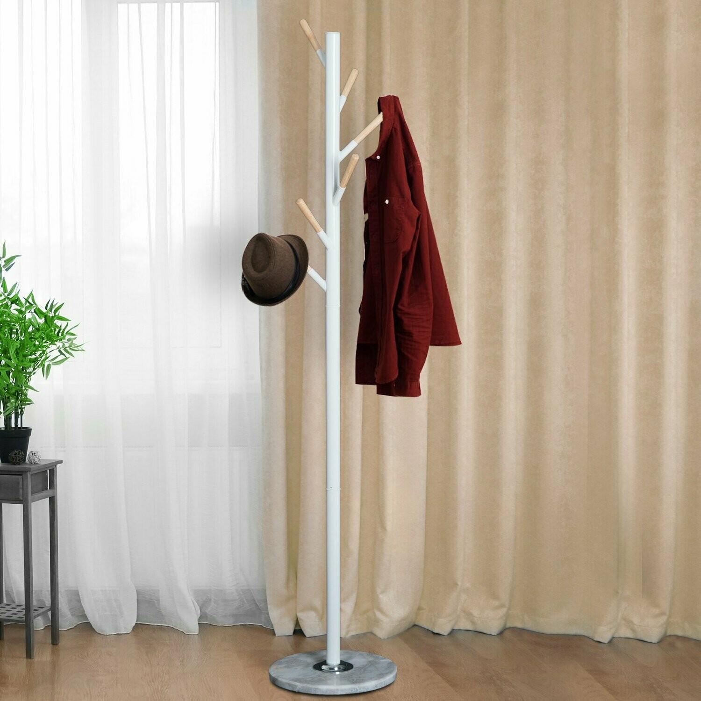 HOMCOM® Garderobenständer Standgarderobe Kleiderständer 6 Haken Marmorfuss Metall Weiss