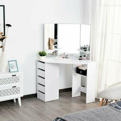 HOMCOM® Schminktisch Kosmetiktisch mit 3 Spiegeln und 5 Schubladen
