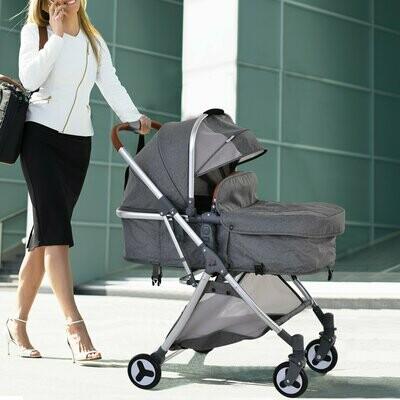 HOMCOM® Kinderwagen 2-in-1 Buggy Babytrage faltbar Alulegierung Kationisches Tuch Grau