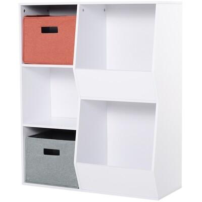 HOMCOM® Aufbewahrungsregal mit 5 Fächern Standregal Spielzeugregal 2 Schubladen MDF Weiss