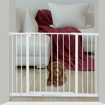 PawHut® Hunde Absperrgitter Schutzgitter Haustier Hundegitter Metall Weiß 72-107x76 cm