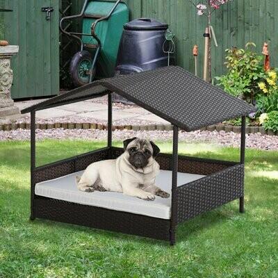 PawHut® Hundehaus Hundebett im Hausform Outdoor Hundehütte Stahlrahmen PP Rattan Schwarz