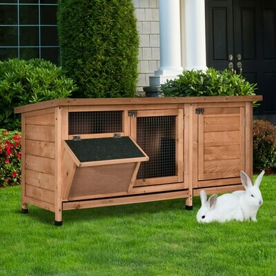 PawHut® Kaninchenstall Hasenkäfig Hasenstall Futtertrog Asphaltdach Massivholz Natur