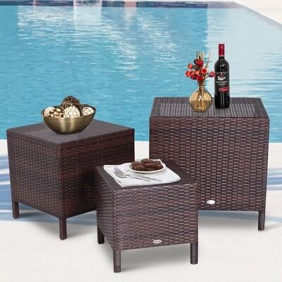 Outsunny® Beistelltisch 3er Set Couchtisch Gartentisch Satztisch Balkontisch Polyrattan Braun